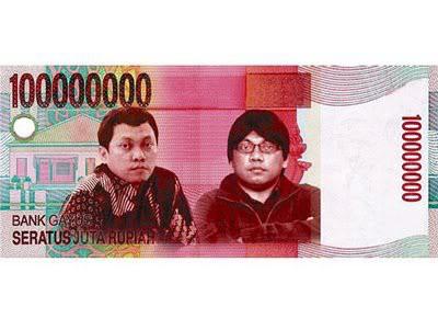 uang pecahan 100.000.00 juta rupiah cuma ada di bank gayus.