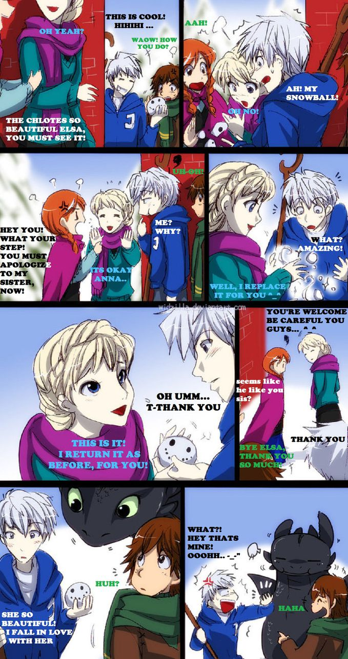 True story ~ Anna & Elsa (Disney Frozen) bertemu Jack Frost (Rise of the Guardians) & Hickup (How to train your Dragon) bagaimana menurut anda ? cute nggak ? link terkait seputar kartun/anime : http://www.deviantart.com/