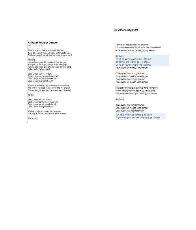 lirik lagu code lyoko hanya untuk para lyokers tetapi juga yang bukan lirik dari: A Word Without Danger un monde sans danger (versi francis)