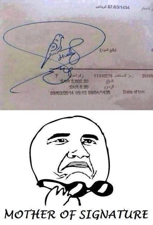 Orang ini sangat hobi dengan kenari, sampai-sampai tanda tangannya seperti ini