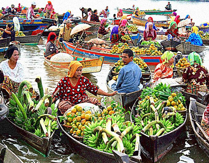 """""""Pasar Terapung"""", Banjarmasin - Kalimantan Selatan. Salah satu budaya Indonesiaku :)"""