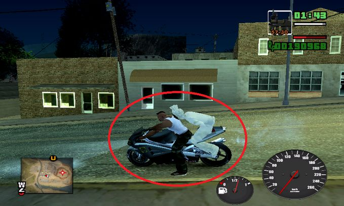 Pocong naik motor di GTA SA Ini salah satu mod yang saya pasang :v