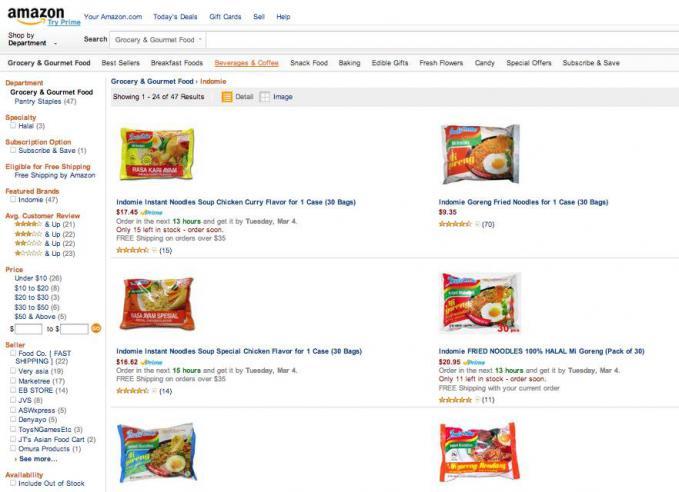 Indomie dijual di Amazon.com cek sendiri kalau gak percaya :D