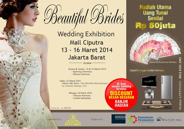 Pameran Beautiful Brides, #acara #event wedding exhibition at Mall Ciputra. For more info https://acara-event.com/pameran-beautiful-brides/
