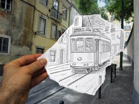 Perpaduan foto dengan gambar pensil #3