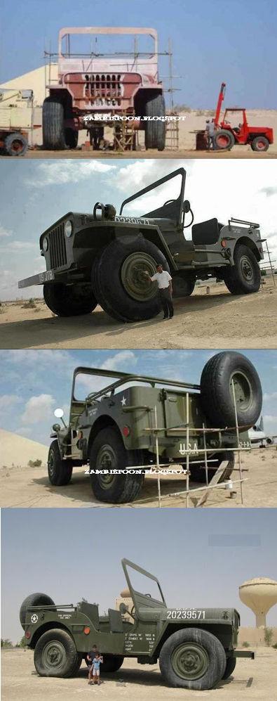 Sobat Pulsk, bagi anda penggemar Jeep Willis, ada yang sengaja membuat dengan ukuran raksasa, Kira-kira bagaimana cara menjalankannya ya.