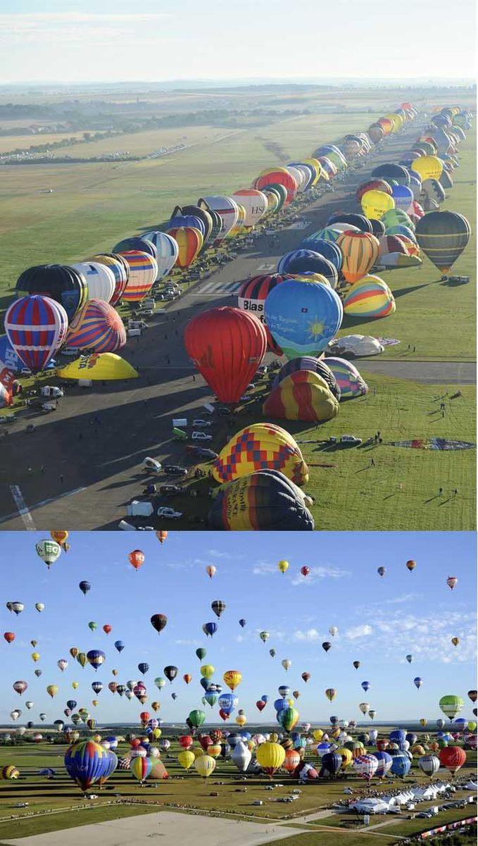 Sobat Pulsk, inilah peristiwa pemecahan rekor balon udara yang di adakan di negara Perancis, keren ya balon udara yang warna-warni, semoga di Indonesia juga ada.