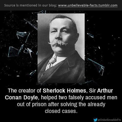 Pengarang cerita detektif Sherlock Holmes, yaitu Sir Arthur Conan Doyle, pernah membebaskan dua orang terpidana yg tidak bersalah dibebaskan dari hukuman. Klik SUKA / LIKE Hangout Society. Disini : https://www.facebook.com/hangoutsociety