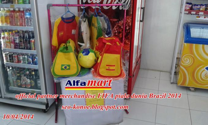 Alfamart official licensed merchandise FIFA piala dunia Brazil 2014 merupakan program penjualan merchandise yang mempunyai batas penjualan yakni dari tanggal 1 Januari 2014 sampai 31 Juli 2014.