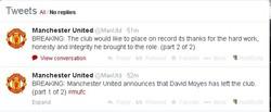 Breaking News: Moyes resmi di pecat oleh Manajemen Manchester United!!