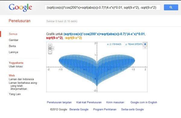 Ketik di google search: (sqrt(cos(x))*cos(200*x)+sqrt(abs(x))-0.7)*(4-x*x)^0.01, sqrt(9-x^2), -sqrt(9-x^2)