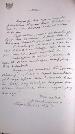 Surat pertama Ir. Sukarno dengan sepakbola