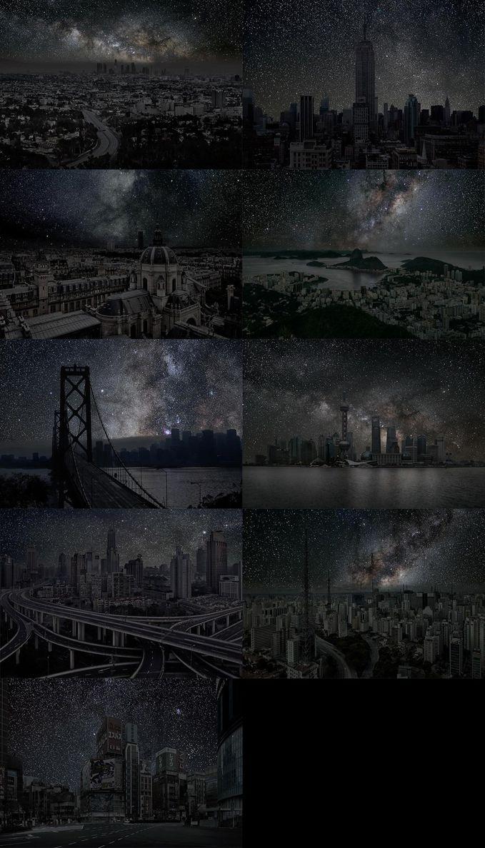 Fotografer Thierry Cohen menciptakan serangkaian foto yang menakjubkan di mana ia menunjukkan kota-kota besar di dunia tanpa polusi cahaya.kota-kota tersebut adalah:Los angeles ,New york ,Paris ,Rio de janeiro ,san fransisco ,hongkong,sanghai,