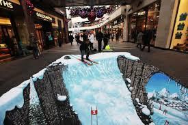 Ayo kita bermain sky di salju!!!hahaha...bisa ketipu tuch...itu lukisan 3D...mirip banget ya sama salju beneran?WOWNYA YA!!!