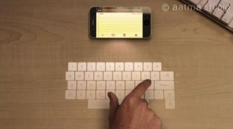 Sobat Pulsk, kelak hand phone bisa menampilkan keybord lewat cahaya seperti pada gambar di atas, keren ya.
