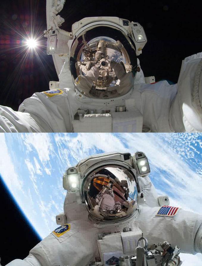 Sobat Pulsk, inilah foto selfie di luar angkasa, keren ya.