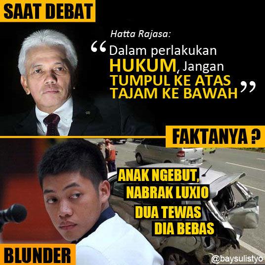 DEBAT SEMALAM. Ketika cawapres bicara kesetaraan HUKUM, tapi lupa tidak bawa kaca. ini jadinya.... Bikin sendiri, semoga menghibur, bukan black campaign tapi fakta kok. #JKW4P #PrabowoHatta #JokowiJK #DebatCapres