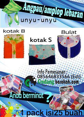 Amplop/angpau unyu lebaran 1 pack isi 25 biji,kelebihannya amplop unyu terbuat dari KAIN bukan dari kertas . UNIK LUCU UNYU2 1 pack isinya mix warna (gak cuma satu warna aja) harga 1 pack Rp 17.000,- reseller min pembelian 10 pack. Pemesanan : 7553434a /085646833566 www.gudangbarokah.com