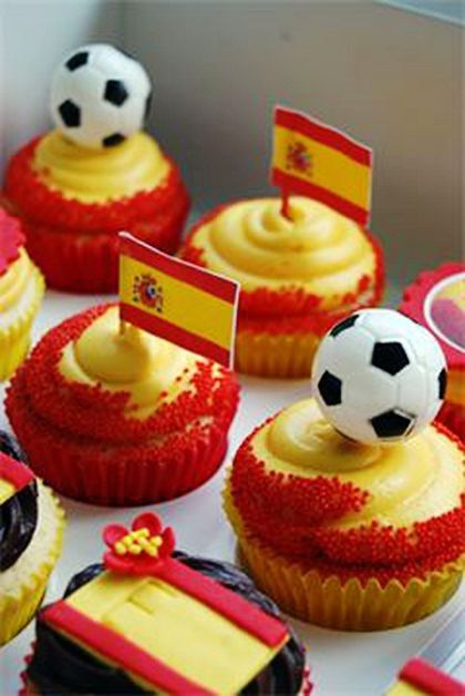 Yummy Cupcakes with Spain Flag & Football Toppers for 2014 FIFA World Cup