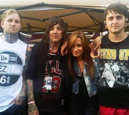 Demi Lovato with Oli Sykes, Jona Weinhofen (former personel), and Matt Nicholls from BMTH