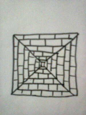 Menurut kalian gambar apa ini??? : a. Piramida dilihat dari atas b. Terowongan berbentuk kotak memanjang kedepan. Selamat menjawab :)