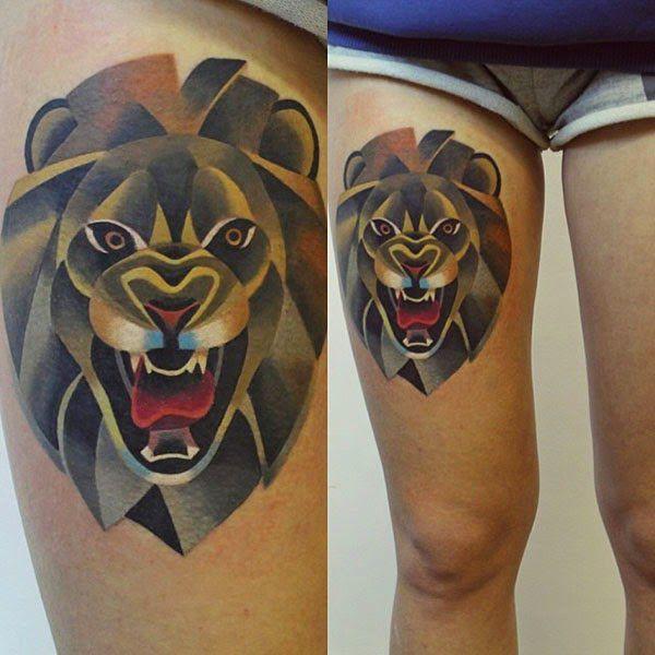 beautiful lion tattoo designs for women http://www.creativehozz.com/2014/06/12-amazing-lions-tattoos-3d-design.html