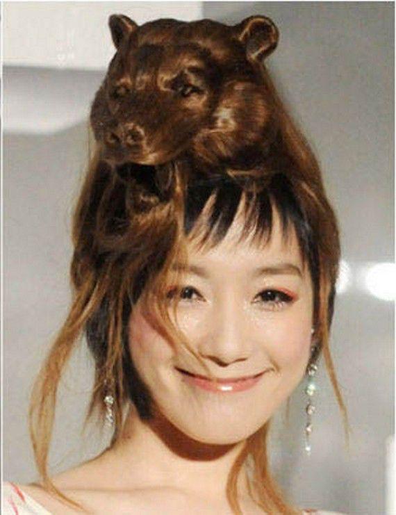 kira kira ? ini apa yaaa ?? style rambut yang sangat keren menyerupai binatang hahahhaha