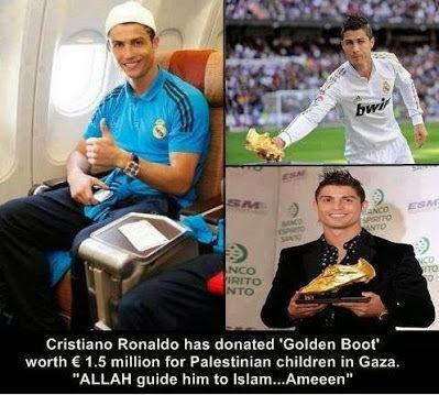 Ronaldo telah menyumbangkan sepatu emasnya untuk anak-anak Palestine d gaza Moga Allah memberi hidayah utk dia agar segera memeluk islam... Ø¢Ù?Ù?Ù?Ù?Ù?Ù? Ø¢Ù?Ù?Ù?Ù?Ù?Ù? Ø¢Ù?Ù?Ù?Ù?Ù?Ù?...Ù?Ù?رÙ?بÙ?Ù?Ù?Ù? عÙ?Ù?Ù?Ù?Ù?Ù?Ù?Ù?