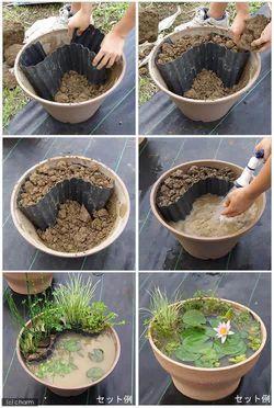 Sobat Pulsk, inilah cara membuat pot bunga yang ada kolam airnya, keren ya.