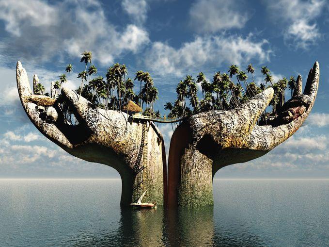 Luarbiasa tangan ini terlihat seperti pulau :D Atau Pulau inni terlihat seperti tangan XD