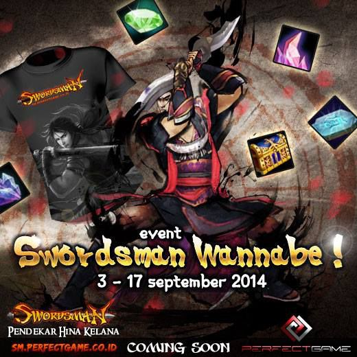 Jelang peluncuran game MMORPG action martial arts Swordsman Online, publisher Perfect Game bagi bagi hadiah! Swordsman Online merupakan game dng tema perebutan kekuatan di antara 10 aliran pendekar silat di Tiongkok. http://sm.perfectgame.co.id