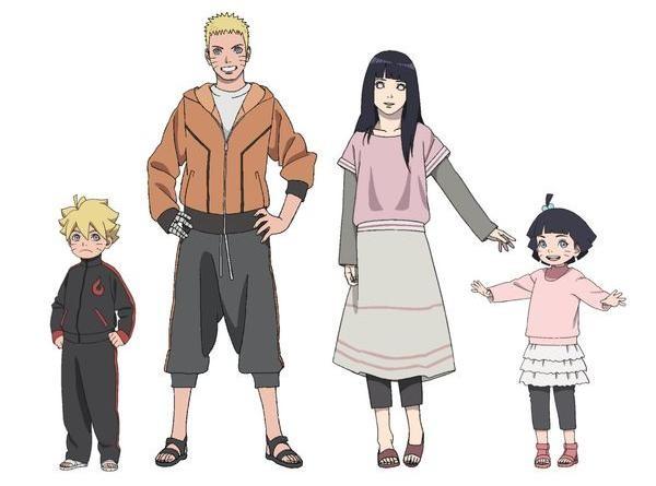 Keluarga Naruto, Hinata, Bolt (Boruto), dan Himawari
