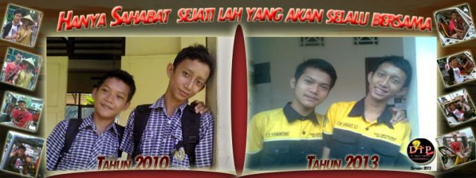 I DWI Panuntun ( left / short ) and my friend WAWAN Anggit Suntoro ( right hand / high ) . began in 2010 in the junior class 8 and photos back in 2013 in the high school . The difference in real life it looks . :) but we are always together