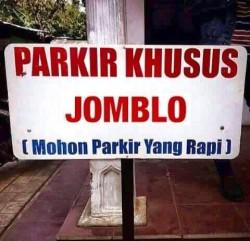 Parkir Khusus Jomblo - kini mereka semakin diperlakukan dengan baik ya :D