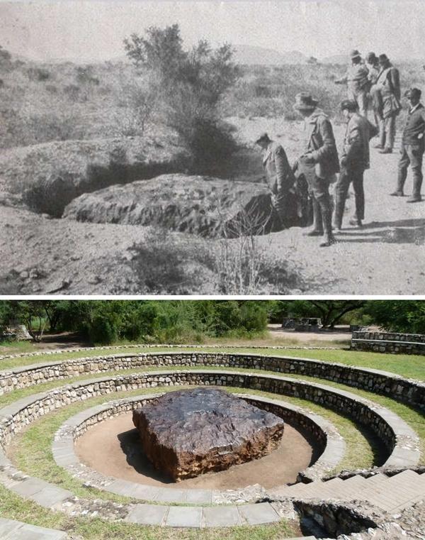 Meteorit Hoba di Namibia adalah meteor terbesar yang pernah ditemukan di bumi.