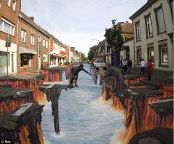 Lukisan Jalanan 3 Dimensi Versi 1