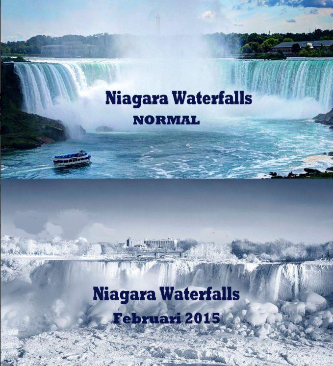 Dampak Musim dingin esktrim yg melanda daratan Amerika .. Air terjun Niagara membeku... WOW!