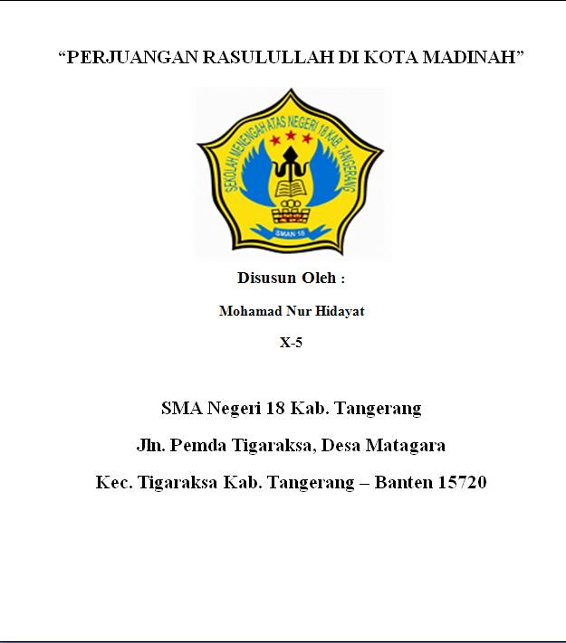 Contoh Makalah Contoh Cover Makalah Sman 18 Kab Tangerang