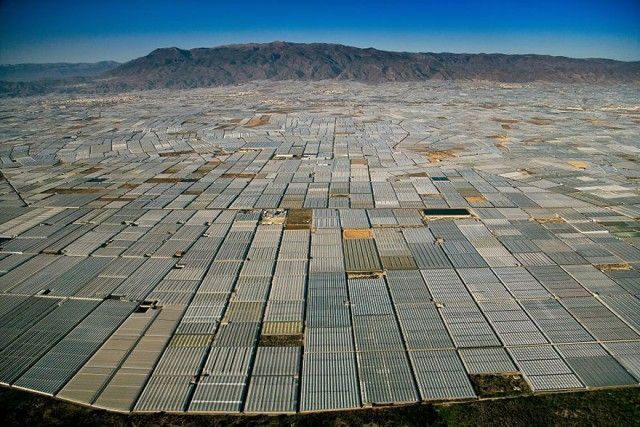 Landscape covered in greenhouses , Almeria