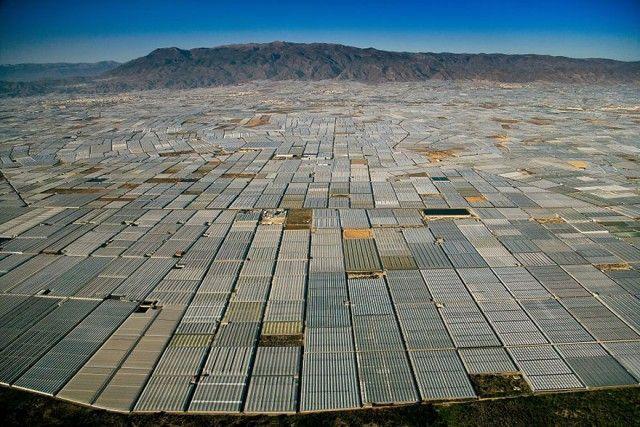 Landscape covered in greenhouses , Almeria