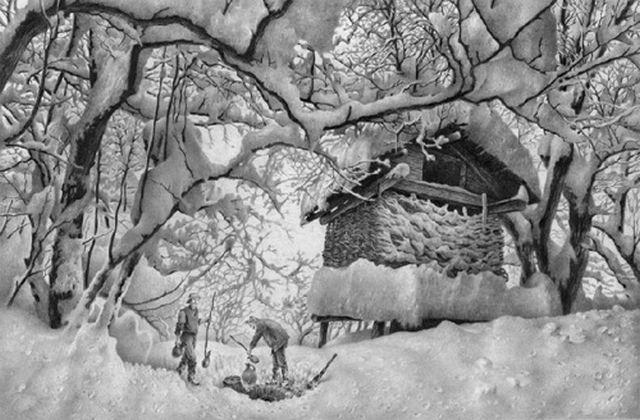 Lukisan yang mengagumkan tidak sebatas menyangkut sketsa wajah saja, tapi mencakup nuansa alam seperti Musim Dingin di Wonderland ini.