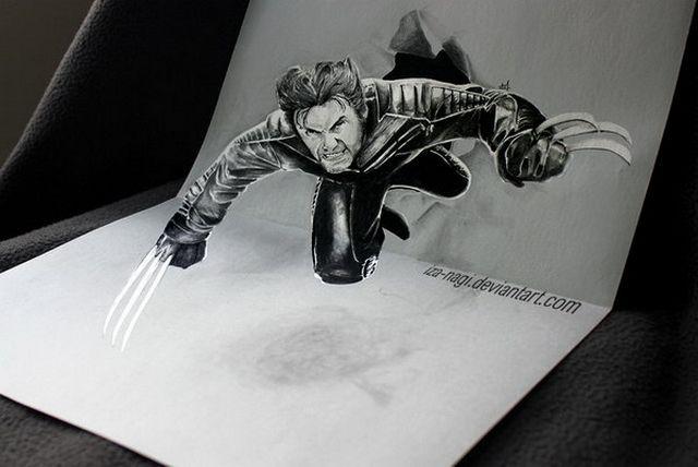 Super hero favorit saya ini... ya Wolferine namanya... Pembuatan Sketsa 3D yang mengagumkan...
