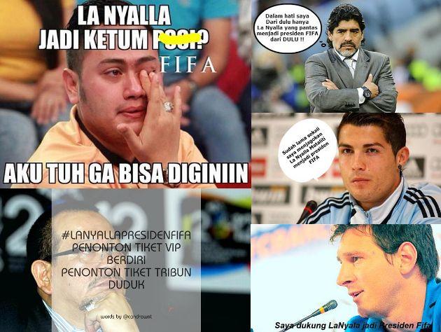Kocaknya Meme La Nyalla Sebagai Calon Presiden FIFA Gantikan Sepp Blatter