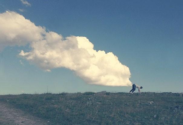 wow kentutnya ngeluarin awan tebal