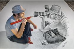 Pensil vs Kamera Karya Seniman Belgia, Ben Heine