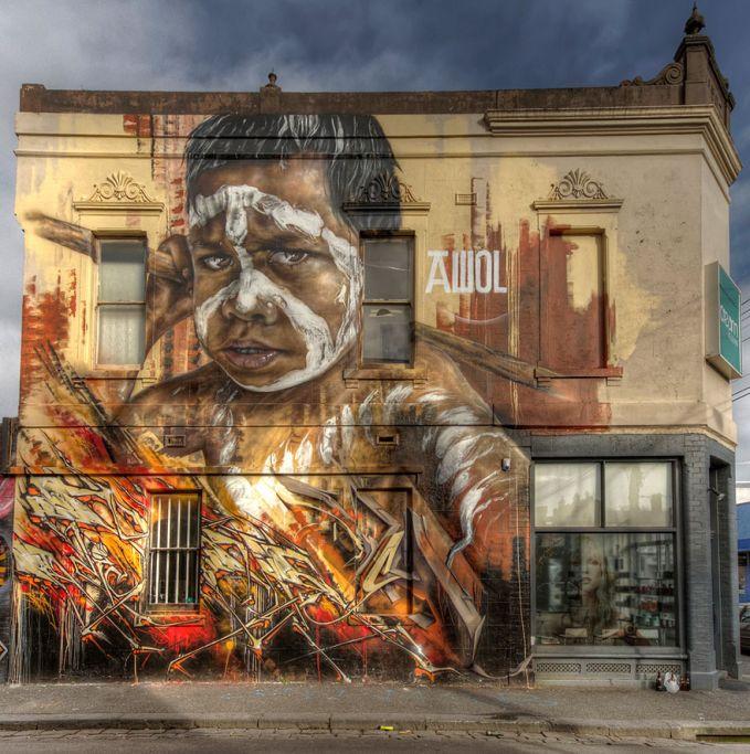 Melbourne, Australia Street Art di Melbourne pernah mati tahun 70 dan 80an. Tapi sekarang mulai berkembang kembali mengikuti trend di New York.