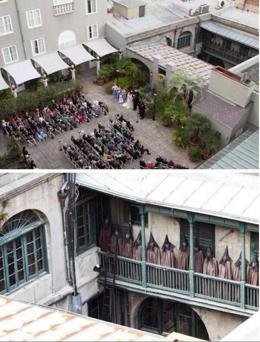 Acara pernikahan yang sakral... Tapi di belakang balkon itu orang lagi ngapain?