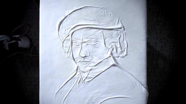 Ini adalah lukisan wajah seniman terkenal Rembrandt
