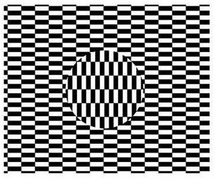Fokuskan pandangan ke bagian tengah bulatan sambil menggerakkan kepala.