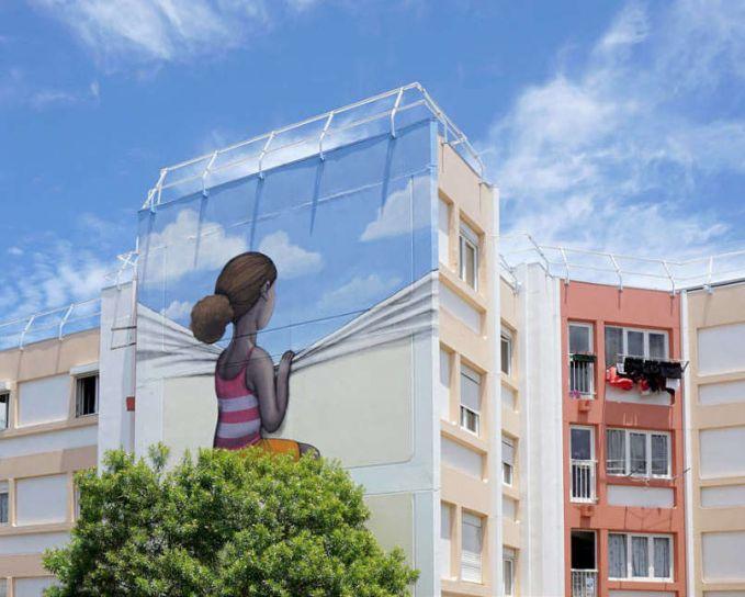 Dia menciptakan lukisan skala besar berwarna-warni di sekitar Perancis.